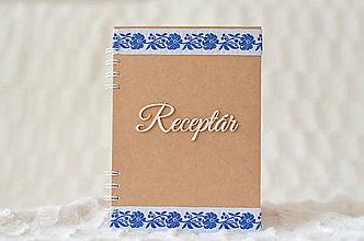 Papiernictvo - Receptárik - natural (bielo-modrá stuha) - 9635292_
