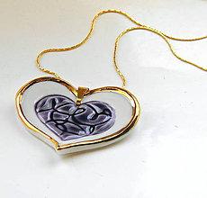 Náhrdelníky - srdce z porcelánu- náhrdelník - 9634590_