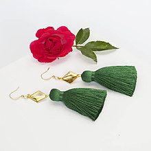 Náušnice - Strapcové zelené náušnice + 17 farieb - 9636036_