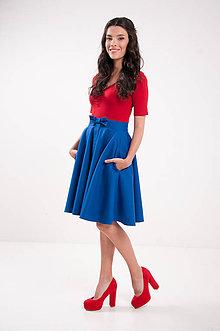 Sukne - Kruhová modrá sukňa s vreckami Lovely - 9635464_