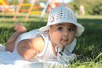 Detské čiapky - Letný klobúk- biela (100% bavlna) - 9634614_
