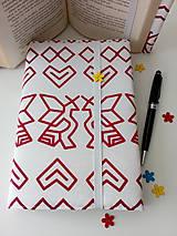 Papiernictvo - Obal čičmany (červené na bielej) - 9634254_
