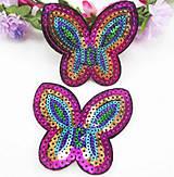 Galantéria - Aplikácia / nažehlovačka flitrový motýlik - 9634998_