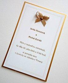 Papiernictvo - svadobné oznámenie na zlatom - 9634488_