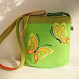Kabelky - ! ! ZĽAVA ! ! ! Limetková kabelka (s pomarančovými motýľmi) - 9635201_