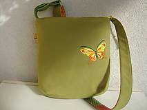 Kabelky - ! ! ZĽAVA ! ! ! Limetková kabelka (s pomarančovými motýľmi) - 9635213_