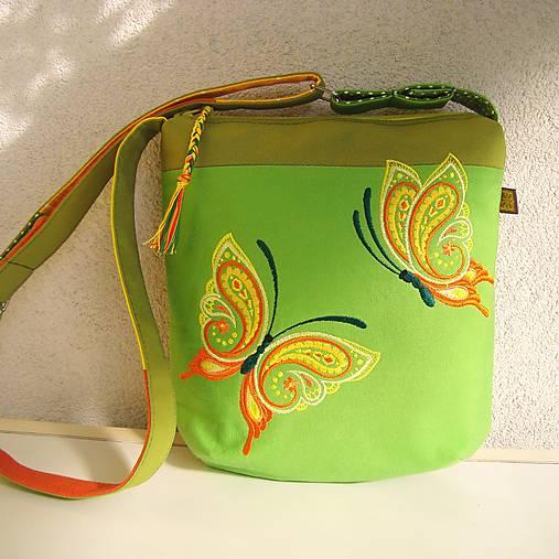 ! ! ZĽAVA ! ! ! Limetková kabelka (s pomarančovými motýľmi)