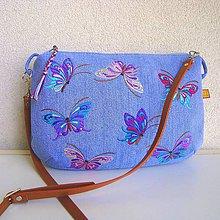 Kabelky - Džínsová motýliková kabelka - 9634083_