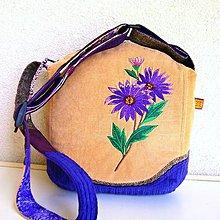 Kabelky - Menčestrová kabelka  (Fialová béžová) - 9634565_