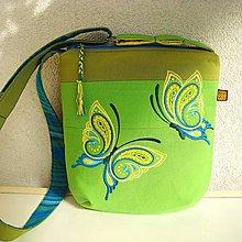 Kabelky - Limetková kabelka (s tyrkysovými motýľmi) - 9635285_