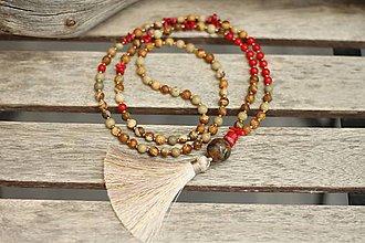 Náhrdelníky - Mala náhrdelník z minerálov korál a jaspis - 9634055_