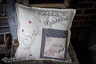 """Úžitkový textil - Svadobný vankúšik """"Zuzka a Mathias"""" - 9638617_"""