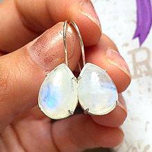 Náušnice - Teardrop Moonstone Earrings Silver Ag 925 / Strieborné náušnice s mesačným kameňom - 9636677_