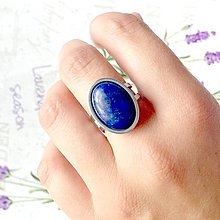 Prstene - Elegant Lapis Lazuli Stainless Steel Ring / Elegantný prsteň s lazuritom z chirurgickej ocele - 9637068_