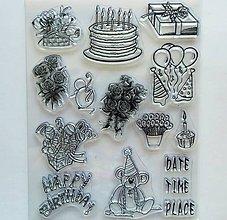 Pomôcky/Nástroje - Silikónové razítka, pečiatky - 14x18 cm - happy birthday, oslava - 9637158_