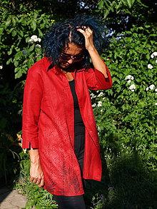 Košele - červená lněná košile - 9639149_