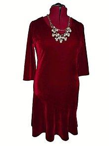 Šaty - zamatové šaty (Bordová) - 9638088_