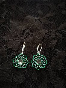 Náušnice - Náušnice Swarovski Flowers (Zelená) - 9637734_