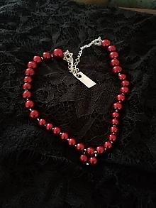 Náhrdelníky - VÝPREDAJ! Korálkový náhrdelník Bordová + Crystal - 9637968_
