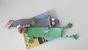 Hračky - Háčkovaná záložka žabka - 9637142_