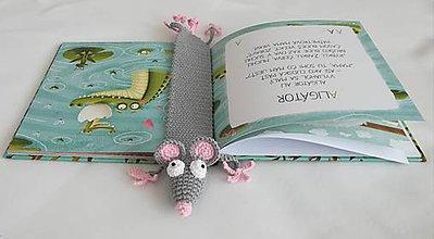 Hračky - Háčkovaná záložka myška - 9637092_