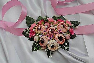 Náhrdelníky - Kvetinový náhrdelník pivónie ružové - 9638875_