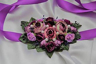 Náhrdelníky - Kvetinový náhrdelník fialový - 9638929_