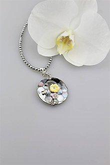 Náhrdelníky - trblietavý náhrdelník - perleť prívesok - 9639648_