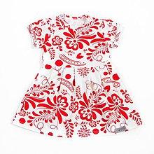 Detské oblečenie - Šaty - white/red folk krátky rukáv - 9637453_