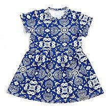 Detské oblečenie - Šaty - White/Blue Folk Ornament krátky rukáv - 9637912_