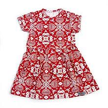 Detské oblečenie - Šaty - White/Red Folk Ornament krátky rukáv - 9637918_