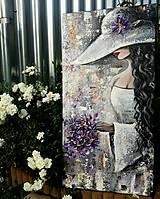 Obrazy - Dáma v klobúku - 9638478_