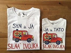 Oblečenie - Originálne maľované duo pre otca a syna – hasičov: s nápisom syn aj ja / ja a syn silná dvojka - 9637222_