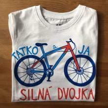 Oblečenie - Otcosynovské maľované tričká s motívom bicykla (Detské tričko 134/140) - 9638155_