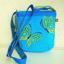 Kabelky - Tyrkysová kabelka (s limetkovými motýľmi) - 9638258_