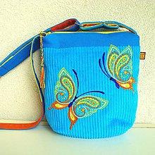 Kabelky - Tyrkysová kabelka (s pomarančovými motýľmi) - 9638809_