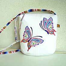 Kabelky - Biela kabelka Zamilované motýliky - 9638841_