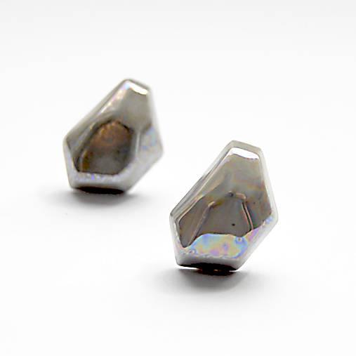 Náušnice sivé Krystalix / perleťový vzhľad