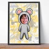 Detské doplnky - Zvierací kostým - myš a fľakaté pozadie (grafika) - 9638608_