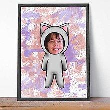 Detské doplnky - Zvierací kostým - mačička a fľakaté pozadie (grafika) - 9638612_