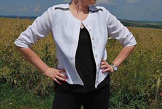 Košele - Biela ľanová košeľa - 9640852_