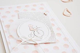 Papiernictvo - Pozdrav pre bábätko - macko na bicykli - 9641552_