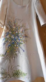 """Šaty - Ľanové béžové maľované šaty """"Lúčna kytica"""" - 9639828_"""