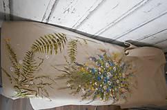 """Šaty - Ľanové béžové maľované šaty """"Lúčna kytica"""" - 9639904_"""