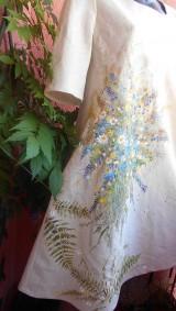 """Šaty - Ľanové béžové maľované šaty """"Lúčna kytica"""" - 9639973_"""