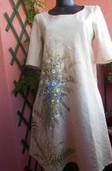 """Šaty - Ľanové béžové maľované šaty """"Lúčna kytica"""" - 9639975_"""
