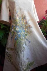 Ľanové béžové maľované šaty