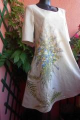 """Šaty - Ľanové béžové maľované šaty """"Lúčna kytica"""" - 9640089_"""