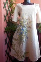 """Šaty - Ľanové béžové maľované šaty """"Lúčna kytica"""" - 9640093_"""
