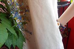 """Šaty - Ľanové béžové maľované šaty """"Lúčna kytica"""" - 9640125_"""